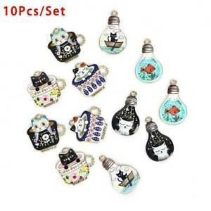 10Pcs-Lot-Enamel-Alloy-Cute-Cup-Cat-Charms-Pendant-Jewelry-DIY-Craft-Finding