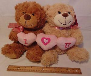 Love-Couple-Bears-Pair-Plush-NEW-Pair-I-Love-You-Stuffed-Animal-His-amp-Her-SET
