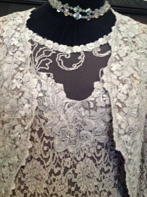 Ann Balon Italian Lace Outfit Lace Dress and Jacket size Large