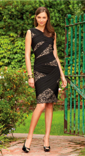 $180 Adrianna Papell Black Lace Inset Stretch Jersey Sheath Dress 10