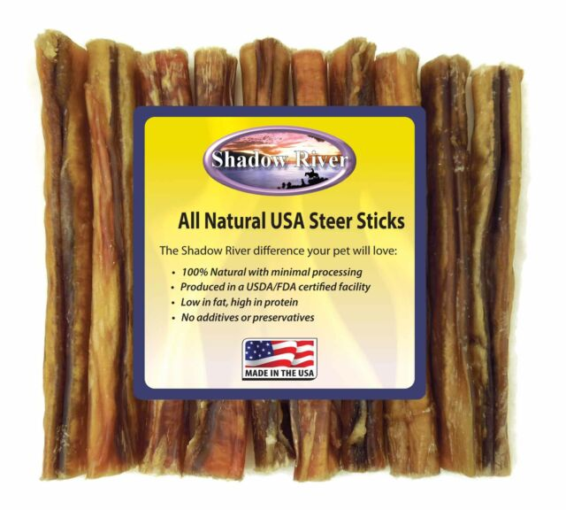 Shadow River 6 Inch THICK Premium USA Beef STEER Bully Sticks Dog Chew Treats