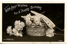 Gloves-Wicker Box-Flower Happy Birthday Greet-RPPC-Vintage Real Photo Postcard