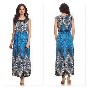 Women-039-s-Plus-Size-Long-Maxi-Summer-Beach-Hawaiian-Boho-Evening-Party-Sundress