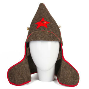 Budenovka-Buddeny-Cap-Red-Army-Soviet-Cavalry-Military-Hat-w-Red-Star-Pin-USSR