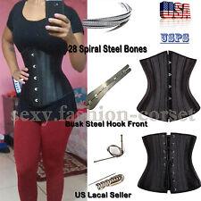 28 Spiral Steel Boned Waist Training Plus Size Underbust Corset Shaperwear UPS