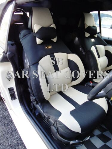 BO 4  MESH SPORTS BEIGE//BLACK SEAT COVERS TO FIT A MERCEDES C CLASS SALOON CAR