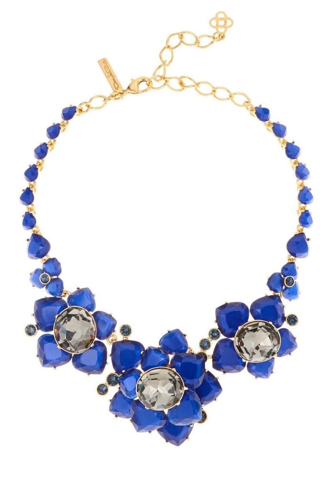 990 NEW Oscar de la Renta Faceted Resin Crystal Embellished Flower Lapis bluee