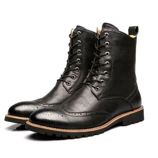 Mens oxford Brogue Wing tip Lace up ankle Boots chukka Leather military shoes