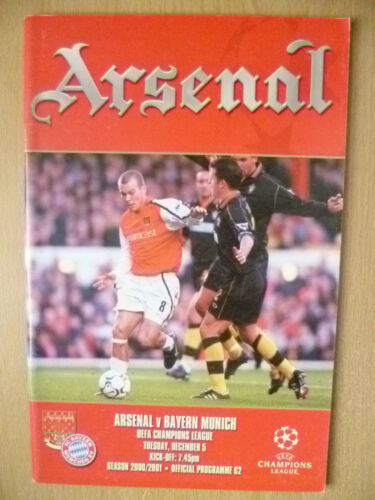 200001 UEFA Champions' League ARSENAL v BAYERN MUNICH Official Programme