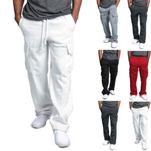 La foto se está cargando Para-hombres-Pantalones-Largos-Pantalones- Deportivos-Informales-Gimnasio- b4e6cbc19615