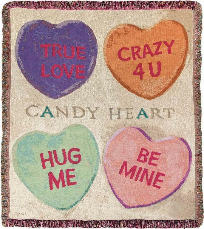 Candy Hearts Be Mine True Love Hug Me Valentine S Day Tapestry Afghan Throw For Sale Online