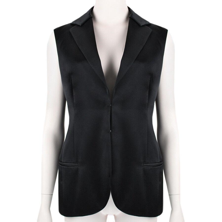Akris lujoso  Esmoquin Negro Satinado inspirado Chaleco Top10 IT42  descuento de ventas