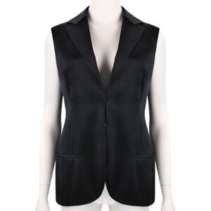 Inspired Waistcoat Top Satin It42 Luxurious Akris Uk10 Tuxedo Black xTqxw7