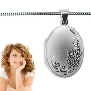 1-Design-Foto-Medaillon-Bilder-Amulett-Anhaenger-oval-Echt-Silber-925-mit-Kette