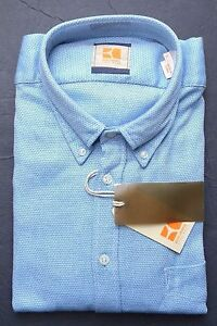 HUGO-BOSS-ORANGE-MEN-039-S-EquatorE-SOLID-BLUE-SOFT-COTTON-CASUAL-SHIRT-New-S