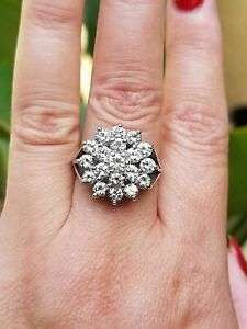 Estate-2-20-Ct-Diamond-Cluster-Ring-Cocktail-18k-Yellow-Gold-Ring-Finish-Silver