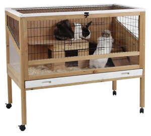 Kleintierkaefig-Indoor-Nagerstall-fuer-Kaninchen-Meerschweinchen-Kaninchenstall