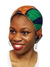 Orange,Green,Blue African Print Ankara Head wrap, Tie, scarf, 100% Cotton DP3772