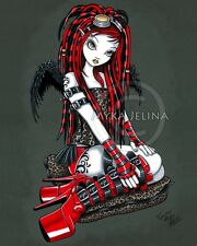 Red Angel Cybergoth Fairy Tattoo Dreadfalls Crimson Signed PRINT Myka Jelina Art