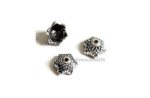 20 Caps calottes coupelles arg 7.5x7.5 x4mm Perles apprêts création  bijoux A368