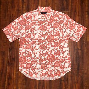 Reyn-Spooner-Hawaiian-Button-Front-Shirt-Size-M-Medium-Red-Orange-Floral