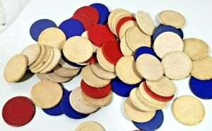 70+ Vintage Blue & Red Clay Poker Chips