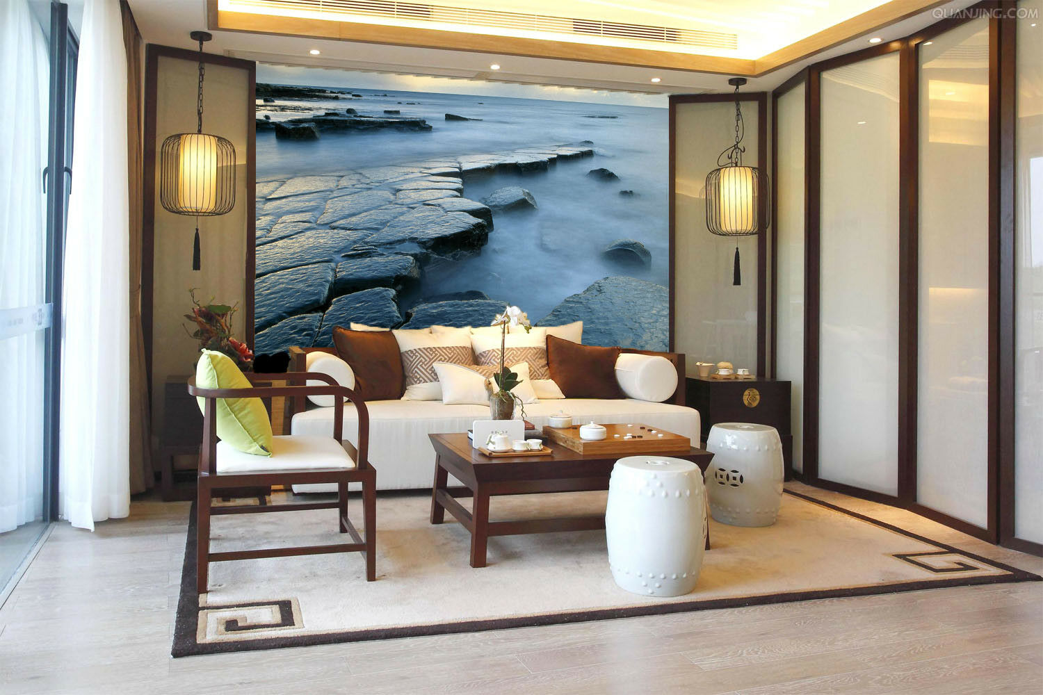3D Stone Path Ocean 55 Wall Paper Wall Print Decal Wall Deco Indoor Mural Summer