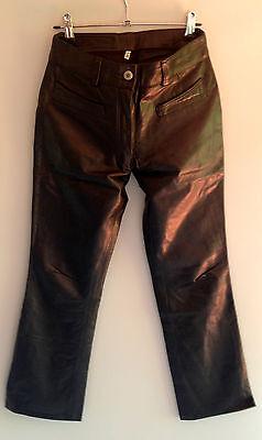 Pantaloni In Pelle Vera Morbida Uk8; Rock N Roll Guardaroba Di Londra; Si Adattano Come Apc Jeans- Elegante Nell'Odore