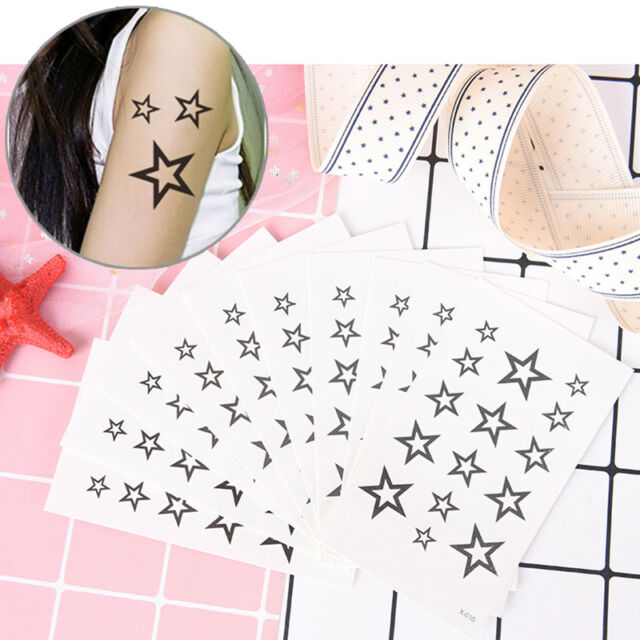 hollow solid black five-pointed star hollow waterproof temporary tattoo stickeJR