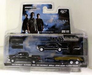 Greenlight-1-64-Scale-Supernatural-039-15-Silverado-1500-039-67-Impala-Flatbed-Trailer