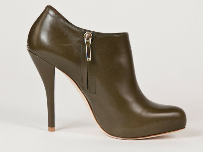 New  Christian Dior Green Green Green Leather Booties Size  41 US 11 41101e