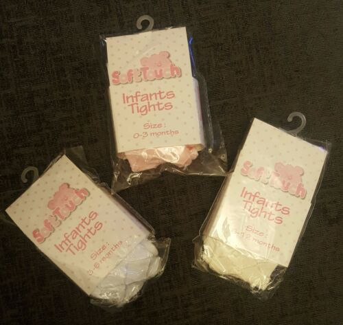 BABY TIGHTS VARIOUS SIZES IN MONTHS CREAM WHITE PINK