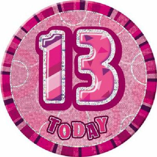 Pink Glitz Big Badge 15cm Metallic Party 13 Designs To Choose