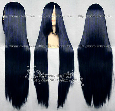 New Long Blue Black Straight Hairs Wig 100CM Long Cosplay Wigs Free Shipping