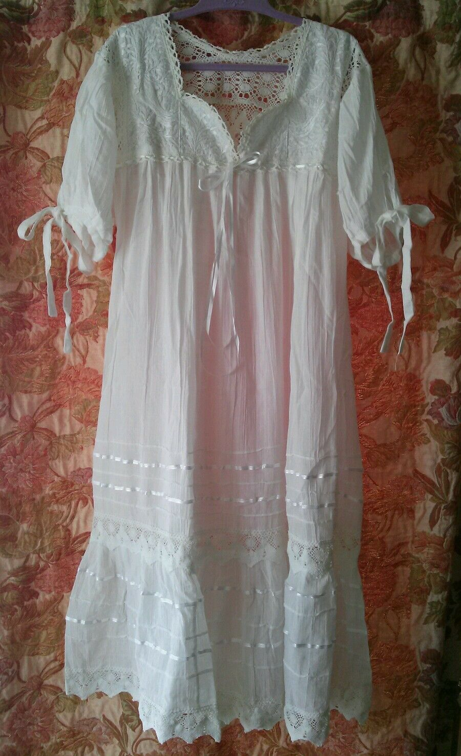 Vintage  White Gauze Lace Crochet Wedding Baby Doll Empire Bohemian Dress Size M