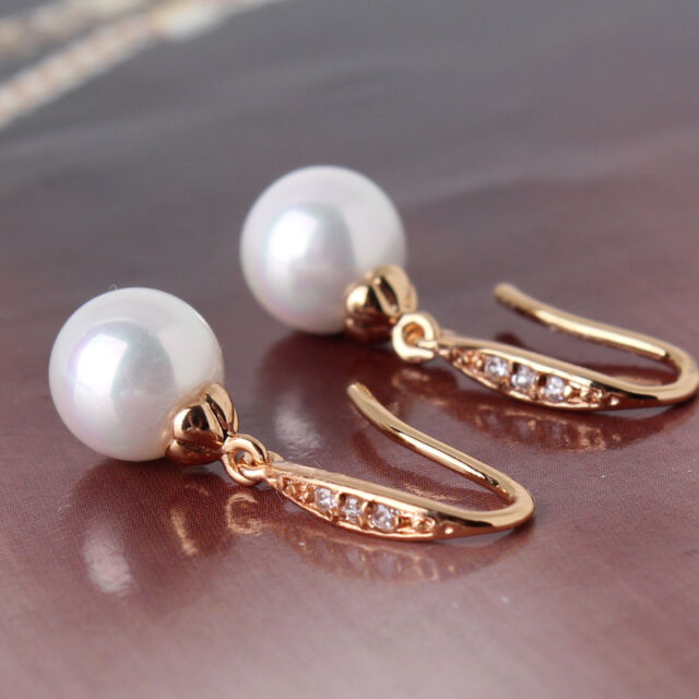 18K gold filled Cool jewlery  lady pearl& crystal lady sweet dangle earring