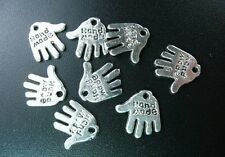 "120 Pcs Tibetan Silver ""HAND MADE"" hand charms FC73"