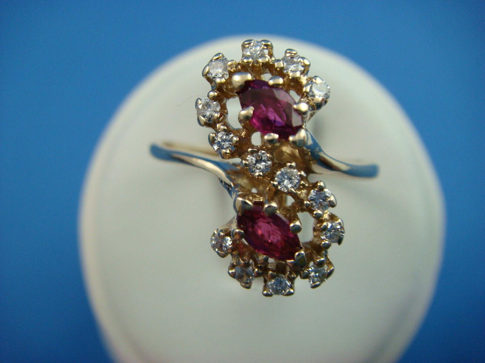 14K YELLOW gold, GENUINE RUBIES & DIAMONDS VINTAGE LADIES RING 3.4 GRAMS SIZE 8