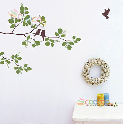 """Wall Decor Decal Sticker Mural Removable Winter branches birds 41"""" two color"""