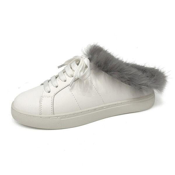 Chaussures de sport basket femme basses blanc fourrure gymnastique confortable