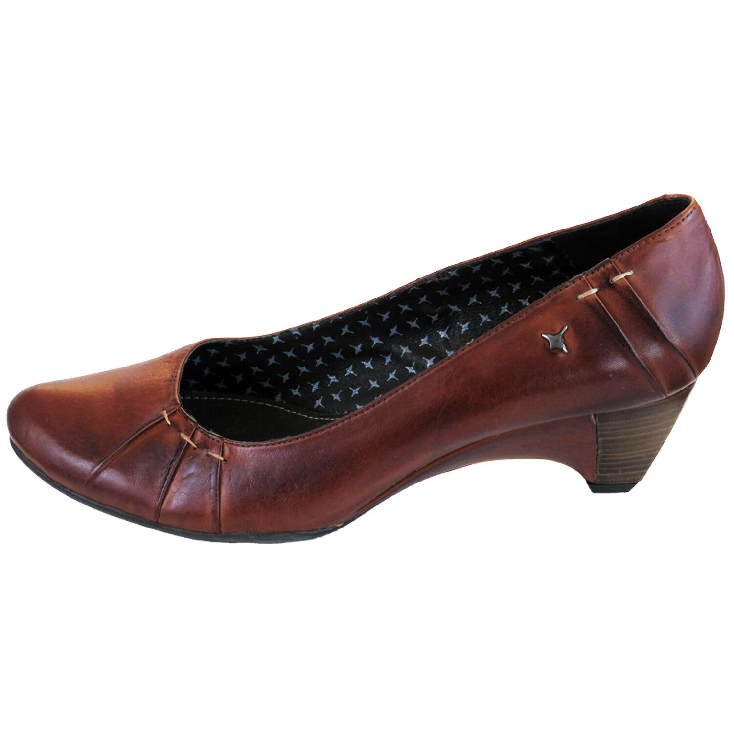 PIKOLINOS WOMENS WOMENS WOMENS COURT SHOES SLIP ON HEELS BROWN LEATHER CUERO  UK 7 003686
