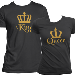 Details about Gold King & Queen Matching T Shirts Set For Couples His & Hers Tee Love Top USA