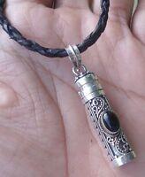 925 Silver Balinese Perfume Locket Pendant Black Onyx W Leather Necklaces