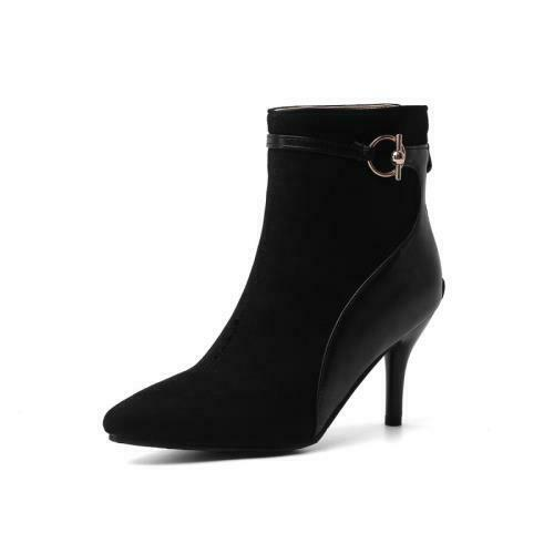Details about  /Women Smart Buckle Stilettos High Heel Pointy Toe Buckle Ankle Boots 46//47//48 D