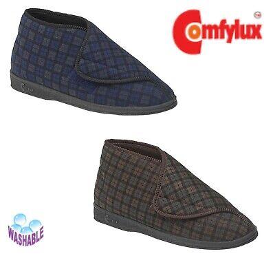 Humorvoll Comfylux Mens Check Adjustable Warm Comfy Washable Boot Slippers - Brown Or Navy Waren Des TäGlichen Bedarfs