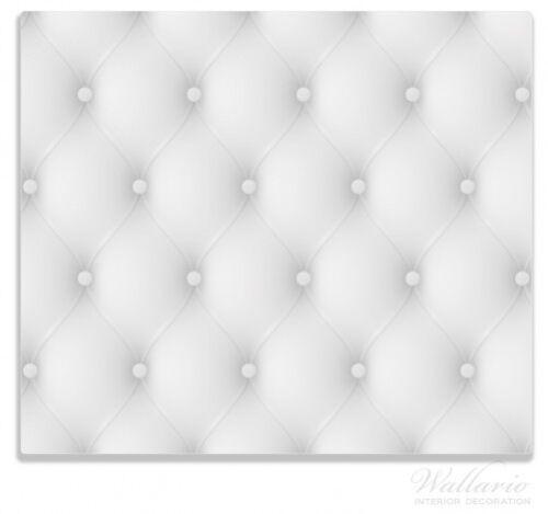 Weiße Ledertür Leder Tür weiß grau 60x52cm Herdabdeckplatte 1-teilig aus Glas