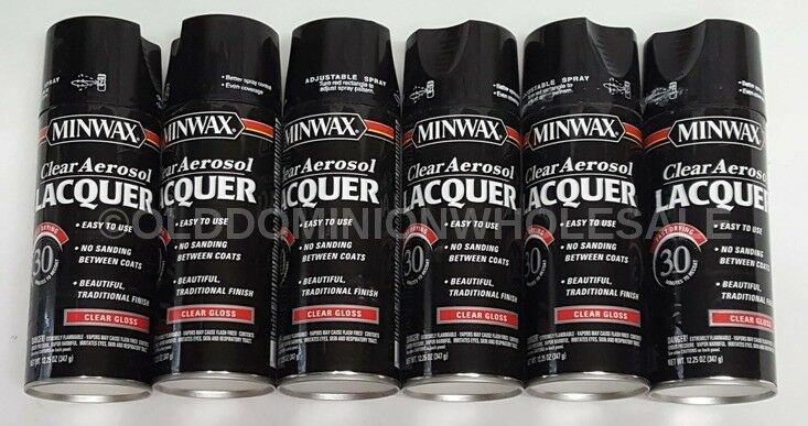X6 - (12.25oz) NEW Minwax 15200 Fast Drying Clear Gloss Aerosol Lacquer