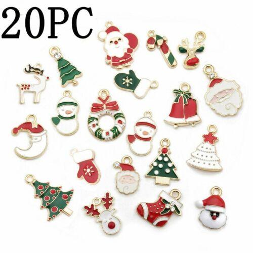 5//9//20Pcs Hot DIY Christmas Enamel Pendant Jewelry Craft Making Accessories Xmas