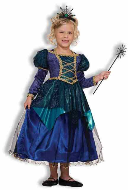 Sparkle Spider Witch Renaissance Gown Fancy Dress Halloween Deluxe Child Costume