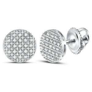 publier des informations sur Vente de liquidation 2019 arrive Détails sur 10kt or Blanc Hommes Diamant Rond Cercle Boucles D'Oreilles  Grappe 1/6 Cts Et